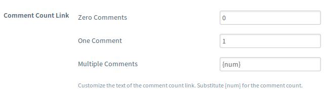 设置评论计数链接的文字
