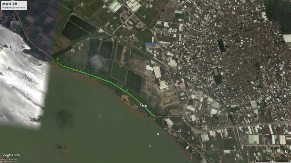 南湾堤顶较适合跑步的路段