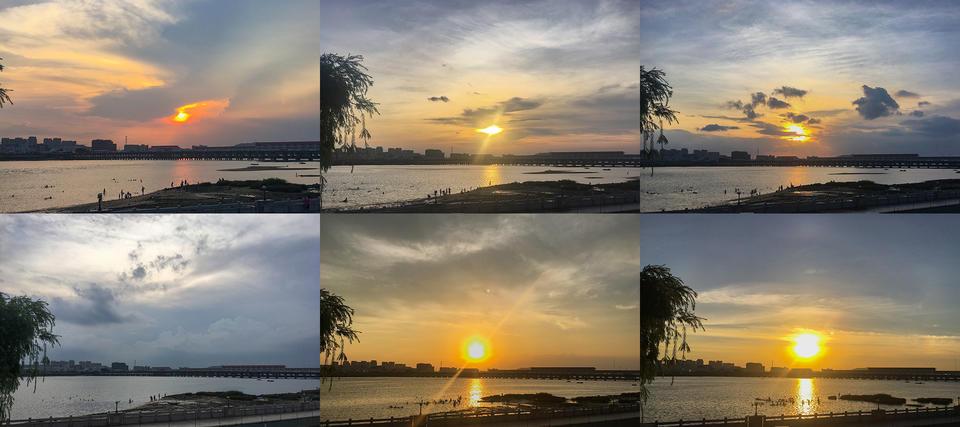 这周渡亭堤顶的夕阳